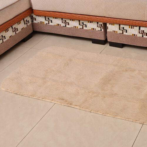 Super-Plush Extra-Long Pile Cream Colour YETI Lounge Rug (Size 180X140 Cm)