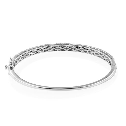 Diamond (Rnd) Bangle (Size 7.5) in Platinum Overlay Sterling Silver 0.550 Ct. Silver wt 13.12 Gms. Number of Diamonds 159