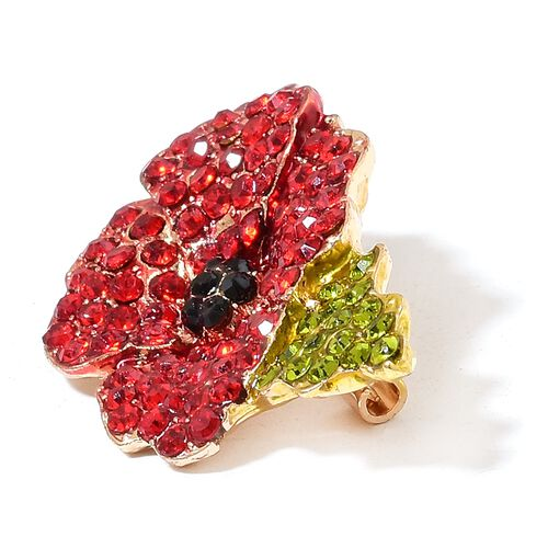 (Option 4) TJC Poppy Design - Multi Colour Austrian Crystal Poppy Flower Brooch in Yellow Gold Tone