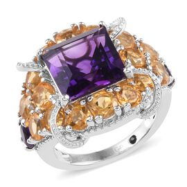 GP 8.75 Ct Amethyst and Multi Gemstone Cluster Ring in Platinum Plated Silver 6.20 Grams
