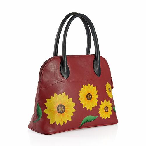 100% Genuine Leather Hand Painted Sunflower Design Shoulder Bag (Size 36X26X13 Cm)
