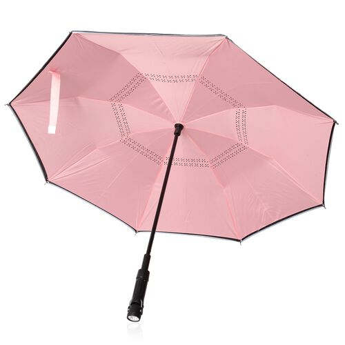Red and Black Colour Reverse Closing Tri-Fold Umbrella with  LED Light on handle (Size 80.5 Cm)