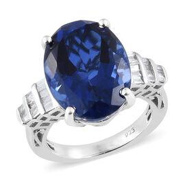 Ceylon Colour Quartz (Ovl 9.500 Ct), Diamond Ring in Platinum Overlay Sterling Silver 9.750 Ct