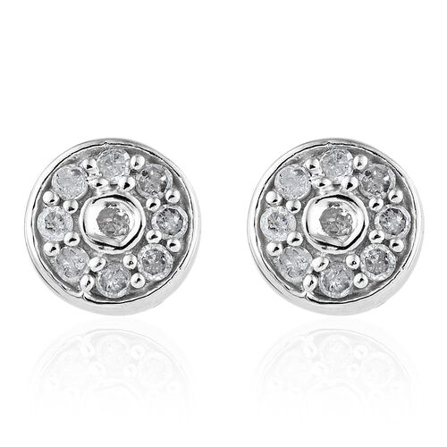 Diamond (Rnd) Stud Earrings (with Push Back) in Platinum Overlay Sterling Silver 0.300 Ct.
