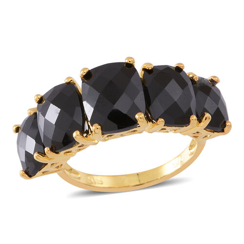 Boi Ploi Black Spinel (Cush 4.00 Ct) 5 Stone Ring in 14K Gold Overlay Sterling Silver 14.000 Ct. Silver wt 3.60 Gms.