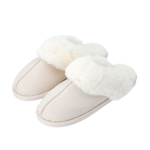 Super Soft Suede Home Slippers with Faux Fur (Size L: 7-8) - Ivory