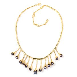 LucyQ Freshwater Peacock Pearl (Pearl) Drip Necklace (Size 16 and 4 inch Extender) in Yellow Gold Ov