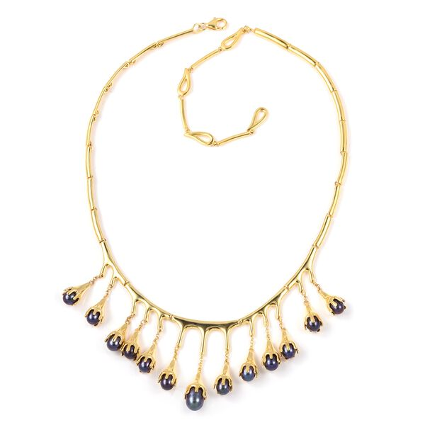 LucyQ Freshwater Peacock Pearl (Pearl) Drip Necklace (Size 20) in Yellow Gold Overlay Sterling Silve