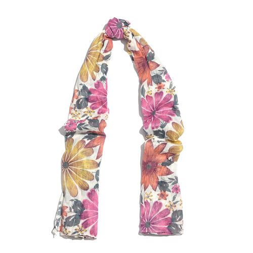 100% Cotton Pink, Yellow and Multi Colour Flower and Leaves Pattern Scarf (Size 200x90 Cm)