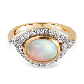 Ethiopian Welo Opal and Natural Cambodian Zircon  Ring in Yellow Gold Overlay Sterling Silver 2.45 C