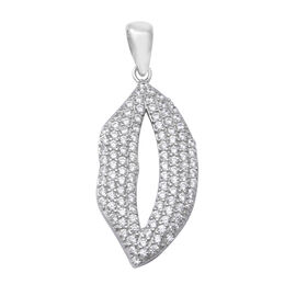 ELANZA Simulated Diamond (Rnd) Pendant in Rhodium Overlay Sterling Silver, Silver wt 3.10 Gms
