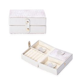 Croc Embossed Small Travel Jewellery Organiser with Button Closure, 5 Ring Rows and 3 Sections with