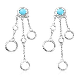 1.50 Ct Arizona Sleeping Beauty Turquoise Chandelier Earrings in Platinum Plated Sterling Silver