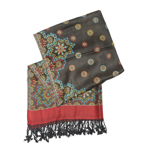 Autumn Winter Special Supersoft Modal Black, Red and Multi Colour Floral Pattern Reversible Jacquard Scarf with Tassels (Size 180X70 Cm)
