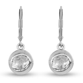Artisan Crafted Polki Diamond Lever Backs Earring in Platinum Overlay Sterling Silver 0.46 Ct.