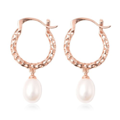 RACHEL GALLEY Lattice Collection - Freshwater White Pearl Drop Hoop Earrings (with Clasp) in Rose Gold Overlay Sterling Silver