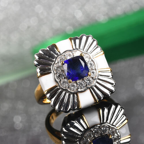 Masoala Sapphire and Natural Zircon Ring in Platinum and Gold Overlay Sterling Silver 1.50 Ct, Silver wt 8.00 Gms