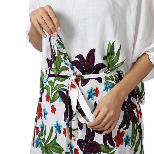 Floral printed Kaftan with Waist Belt (Size S to XXL 91x105cm)  - White