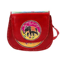SUKRITI 100% Genuine Leather Madhubani Art Elephant Pattern Crossbody Bag (Size 25.50x6.25x21.50 Cm)