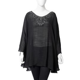 Silver Colour Embroidered Collar Poncho With Half Round Shape in Black Colour (Size 73.5x53 Cm)