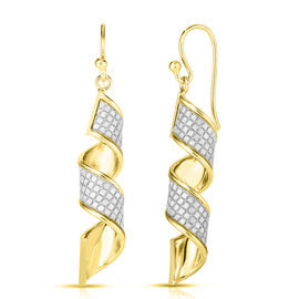 14K Gold Overlay Sterling Silver Diamond Cut Dangle Hook Earrings, Silver wt 3.42 Gms