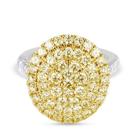NY Close Out Deal- 14K Yellow & White Gold Natural White (I2 /G-H) and Yellow Diamond (VS) Cluster R