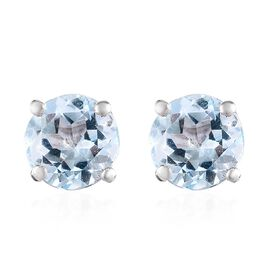 Sky Blue Topaz (Rnd) Stud Earrings (with Push Back) in Platinum Overlay Sterling Silver 2.00 Ct.