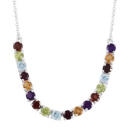 Rhodolite Garnet, Sky Blue Topaz and Multi Gemstone Necklace (Size 18) in Sterling Silver 5.250 Ct. Silver wt 5.93 Gms.