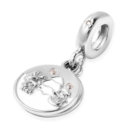 Charmes De Memoire Simulated Diamond Enamelled Charm in Sterling Silver