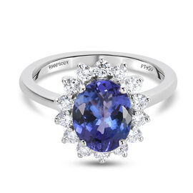 OTO- RHAPSODY  950 Platinum AAAA Tanzanite and Diamond (VS/E-F) Ring 2.53 Ct, Platinum wt. 4.89 Gms.