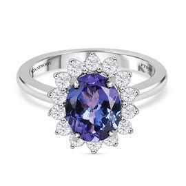 RHAPSODY  950 Platinum AAAA Tanzanite and Diamond (VS/E-F) Ring 2.50 Ct, Platinum wt. 4.24 Gms.