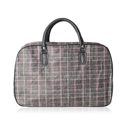 Super Chic Checker Pattern Water Resistant Large Weekend Handbag  with Adjustable and Removable Shoulder Strap (Size 50x30x17 Cm)