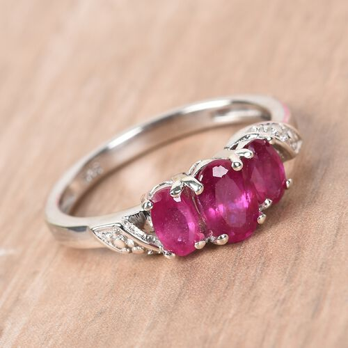 African Ruby Ring in Platinum Overlay Sterling Silver 1.30 Ct.