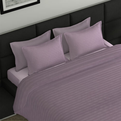 7 Piece Set -  Bedding Set including 1 Duvet with Duvet Cover (220x225cm), 2 Pillows with Pillow Covers (50x75cm), 1 Fitted Bedsheet (150x200+30cm) - Mauve Pink King