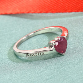 Personalise Heart Ruby Solitaire Ring in Silver