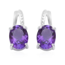 Natural African Amethyst Earring  Sterling Silver 3.40 ct  3.400  Ct.