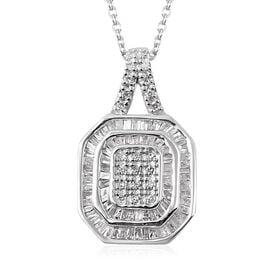 Diamond (Rnd and Bgt) Pendant with Chain (Size 18) in Platinum Overlay Sterling Silver 0.50 Ct.
