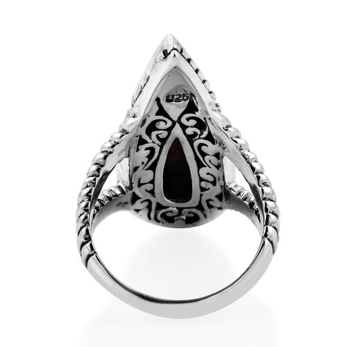 Royal Bali Collection Sponge Coral (Pear) Ring in Sterling Silver, Silver wt 12.80 Gms