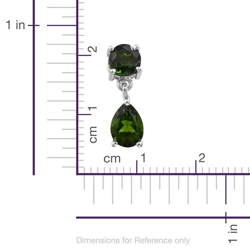 Russian Diopside (Pear) Earrings (with Push Back) in Platinum Overlay Sterling Silver 2.500 Ct.