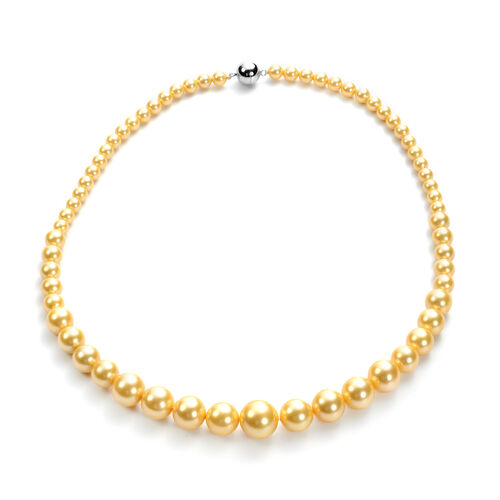 3 Piece Set - Golden Shell Pearl Stretchable Bracelet (Size 7), Necklace (Size 20 with Magnetic Lock) and Earrings (with Push Back) in Stainless Steel