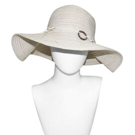 Floppy Sun Hat with Ring (57X26 CM )- Beige and Multi