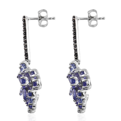 Designer Inspired-Tanzanite (Pear), Boi Ploi Black Spinel Earrings (with Push Back) in Platinum Overlay Sterling Silver 6.750 Ct. Silver wt.6.32 Gms.