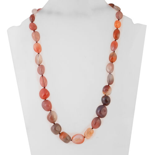 Blossom Agate Beads Necklace (Size 20) in Stainless Steel