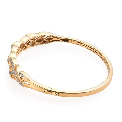 Diamond (Rnd) Bangle (Size 7.5) in 14K Gold Overlay Sterling Silver   0.500 Ct, Silver wt 16.32 Gms.