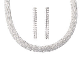 2 Piece Set White Austrian Crystal Classic Necklace and Earrings 18 with 4 inch Extender
