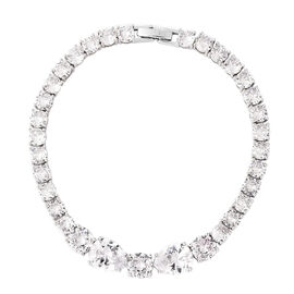 Simulated Diamond Tennis Bracelet in Silver Tone 7.5 Inch