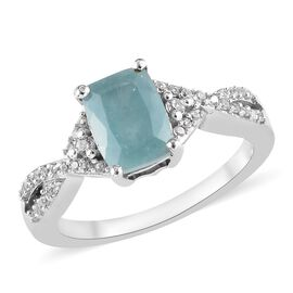 1.50 Ct Grandidierite and Zircon Solitaire Design Ring in Platinum Plated Silver