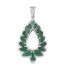 Kagem Zambian Emerald (Mrq) Teardrop Pendant in Platinum Overlay Sterling Silver 2.250 Ct.