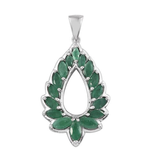 Kagem Zambian Emerald (Mrq) Teardrop Pendant in Platinum Overlay Sterling Silver 2.250 Ct.