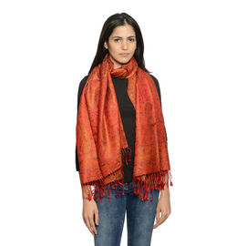 SILK MARK - 100% Superfine Silk Burnt Ochre, Orange and Multi Colour Floral and Paisley Pattern Jacq